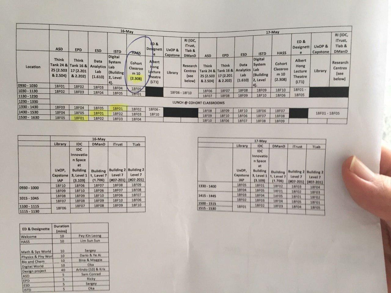 Discovery Week Timetable