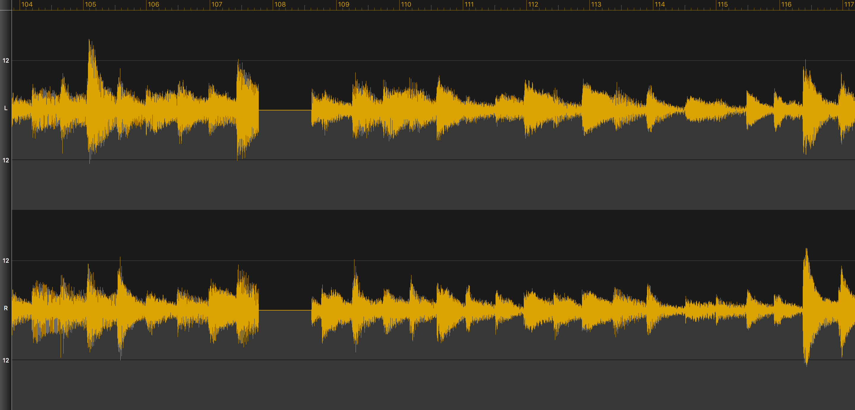 A stereo waveform with unexpected silence.