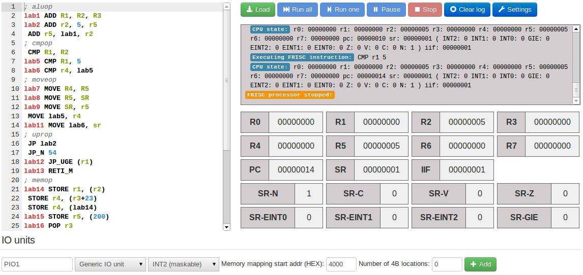 Github Izuzakfriscjs Frisc Processor Simulator In Javascript