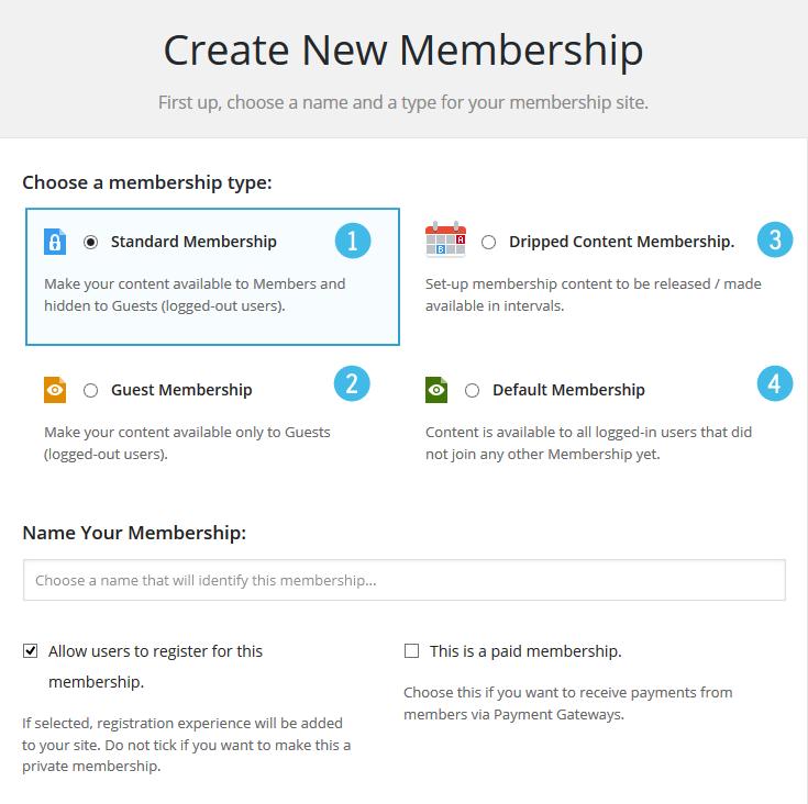 M2 Memberships Create New