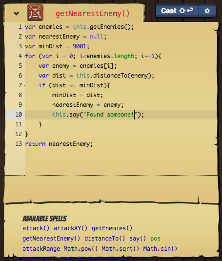 An example SpellView inside the TomeView for Zone of Danger