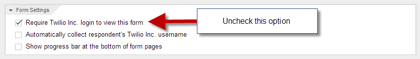 Uncheck required login