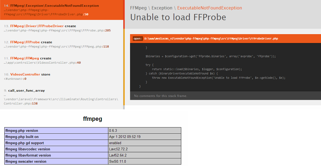 Unable to load FFProbe · Issue #45 · PHP-FFMpeg/PHP-FFMpeg