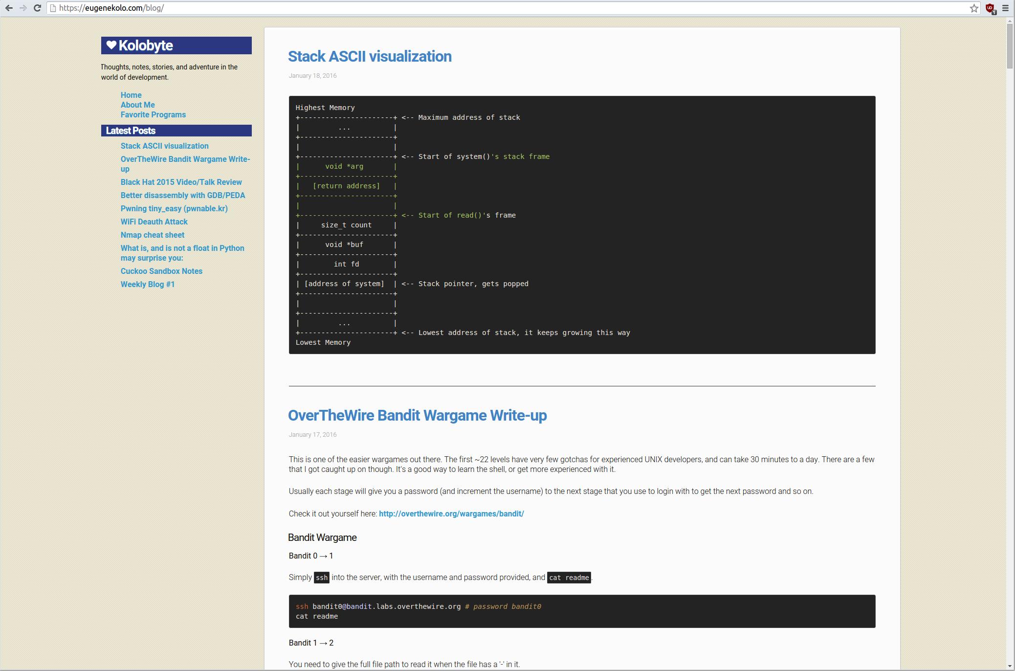 Screenshot of blog 2