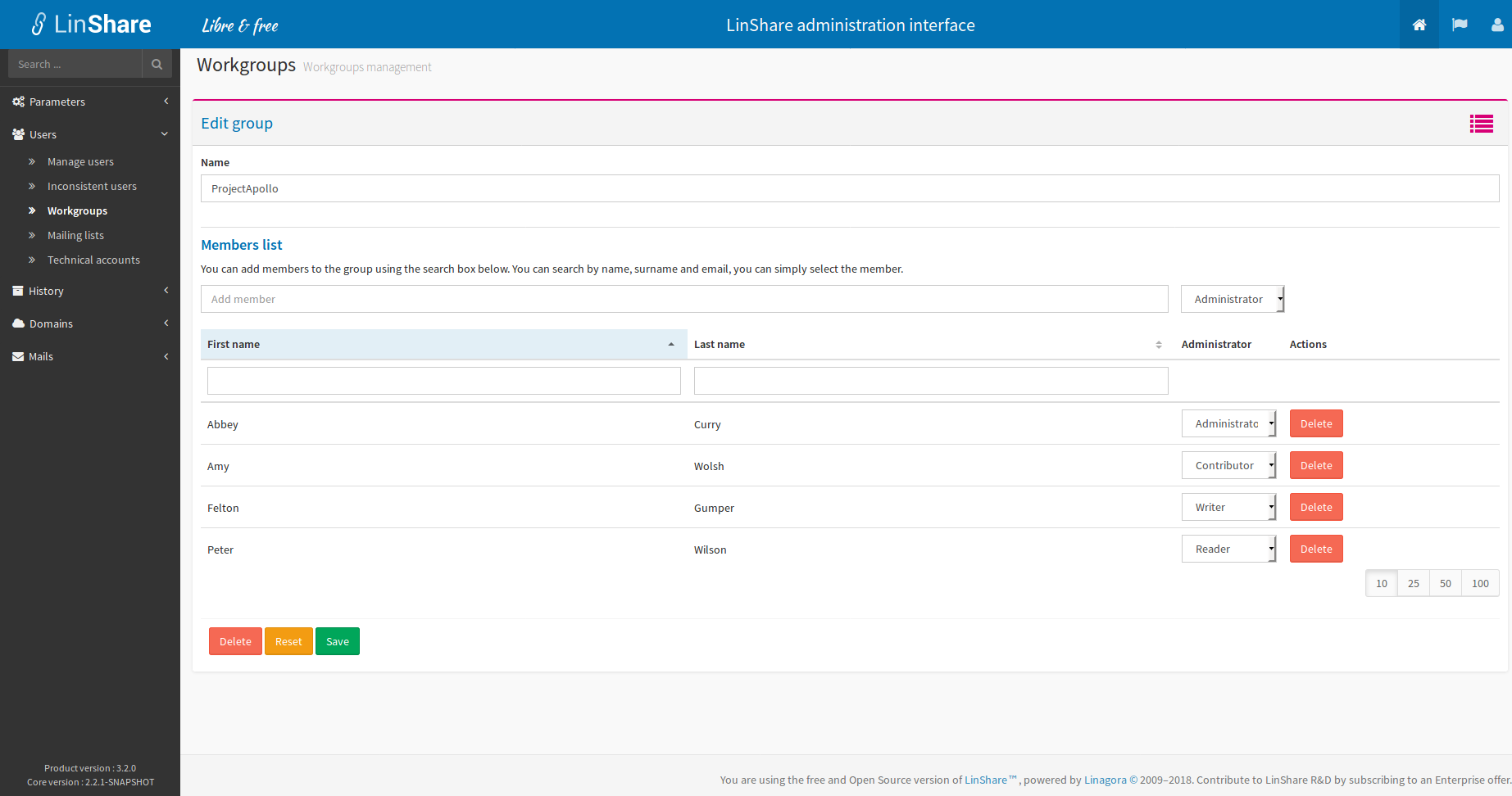 List workgroup roles in admin interface[SCREENSHOT]