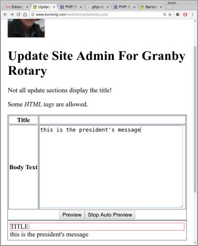 Screenshot of testupdatesite2.php