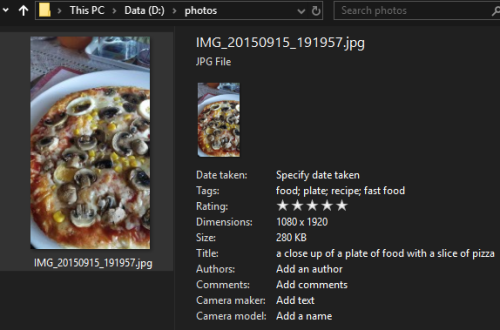 Photo with tags in File Explorer