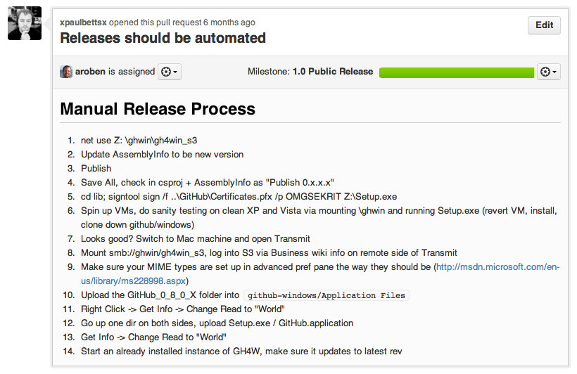 """Releases should be automated"" issue for GitHub for Windows"