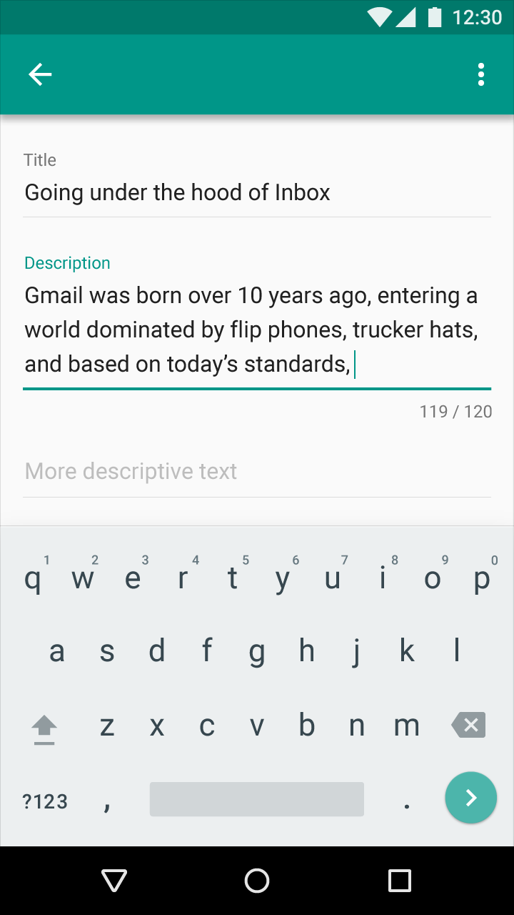 Material Design - Text field input - Over/under character or word