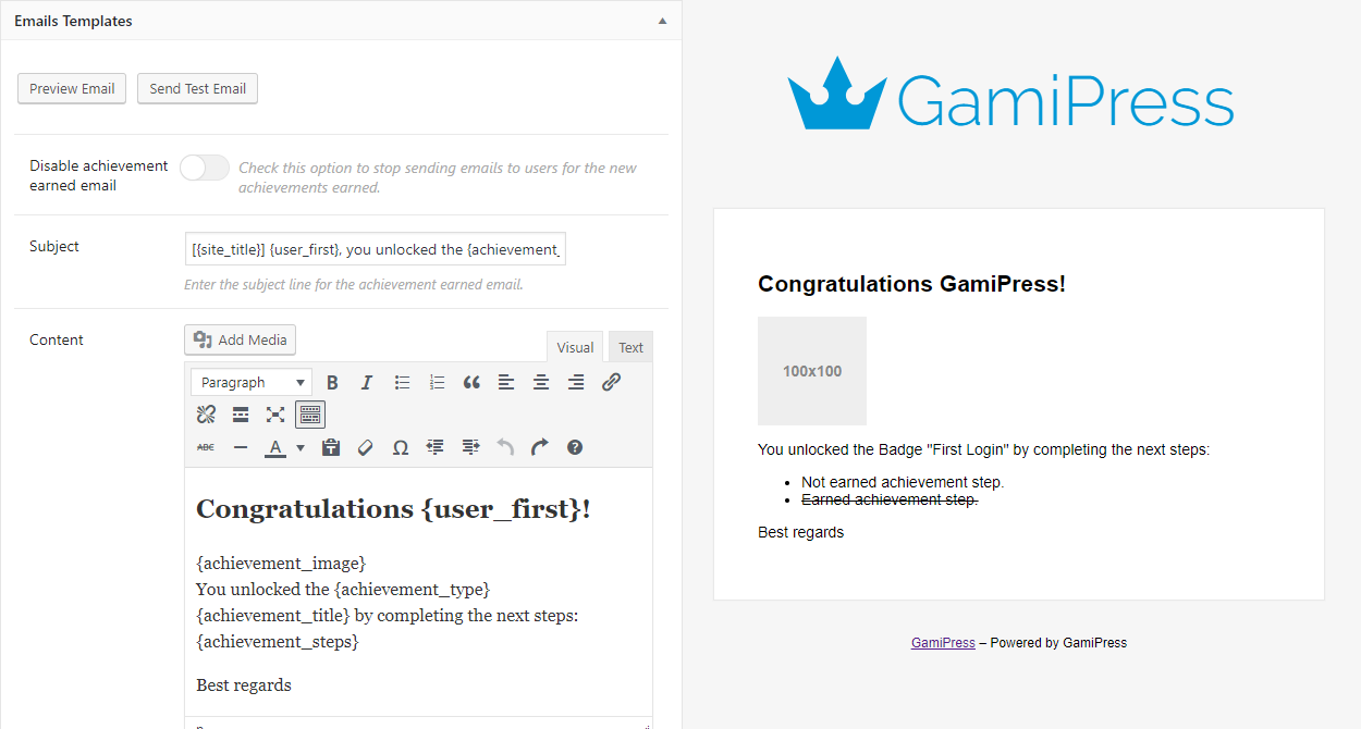 Configurable email templates to let your users get notified automatically about new awards