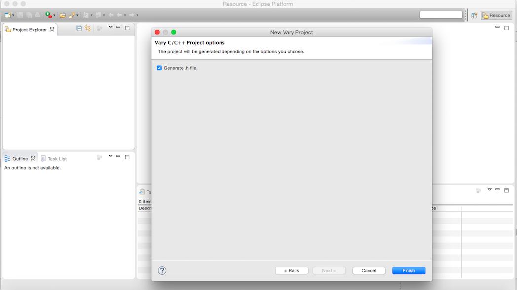 Opción para generar fichero de cabecera o no