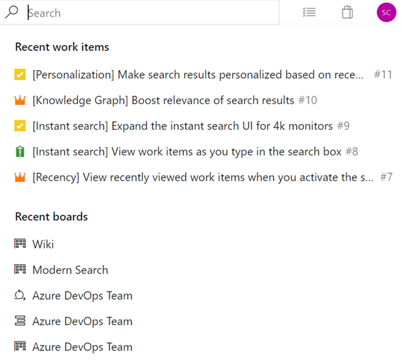 Navigate to recently viewed work items and board items from search