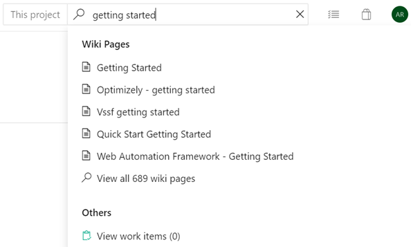 Instant search for wiki