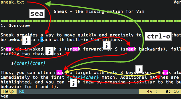sneak.vim usage