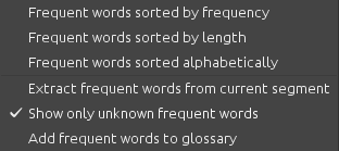 Task > Frequent words submenu