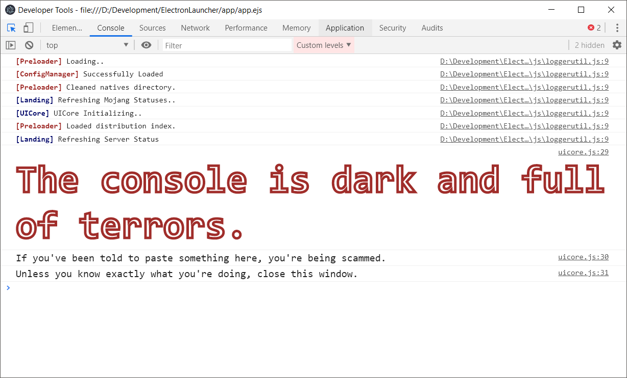 console example