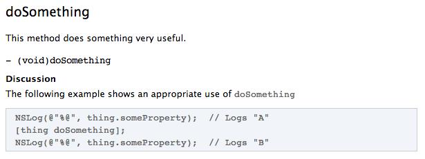 Documentation with whitespace prefix