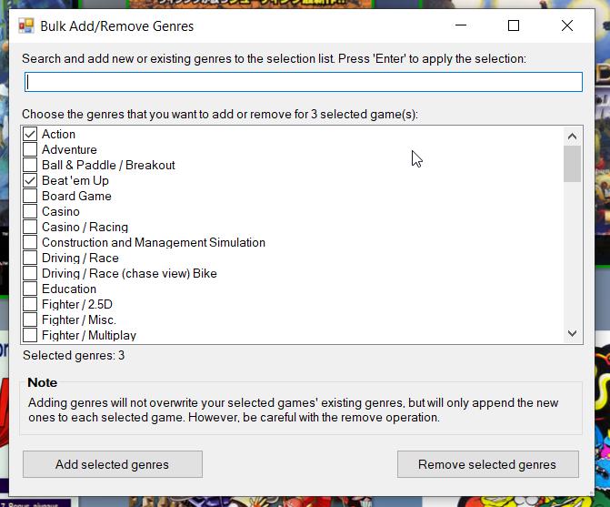 Bulk Add/Edit Genres dialog form