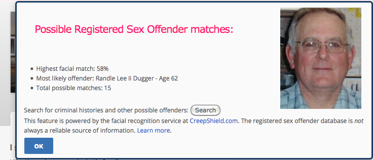 "Screenshot of Predator Alert Tool for OkCupid displaying CreepShield results after clicking on ""RSO facial match"" percentage on a user's OkCupid profile."
