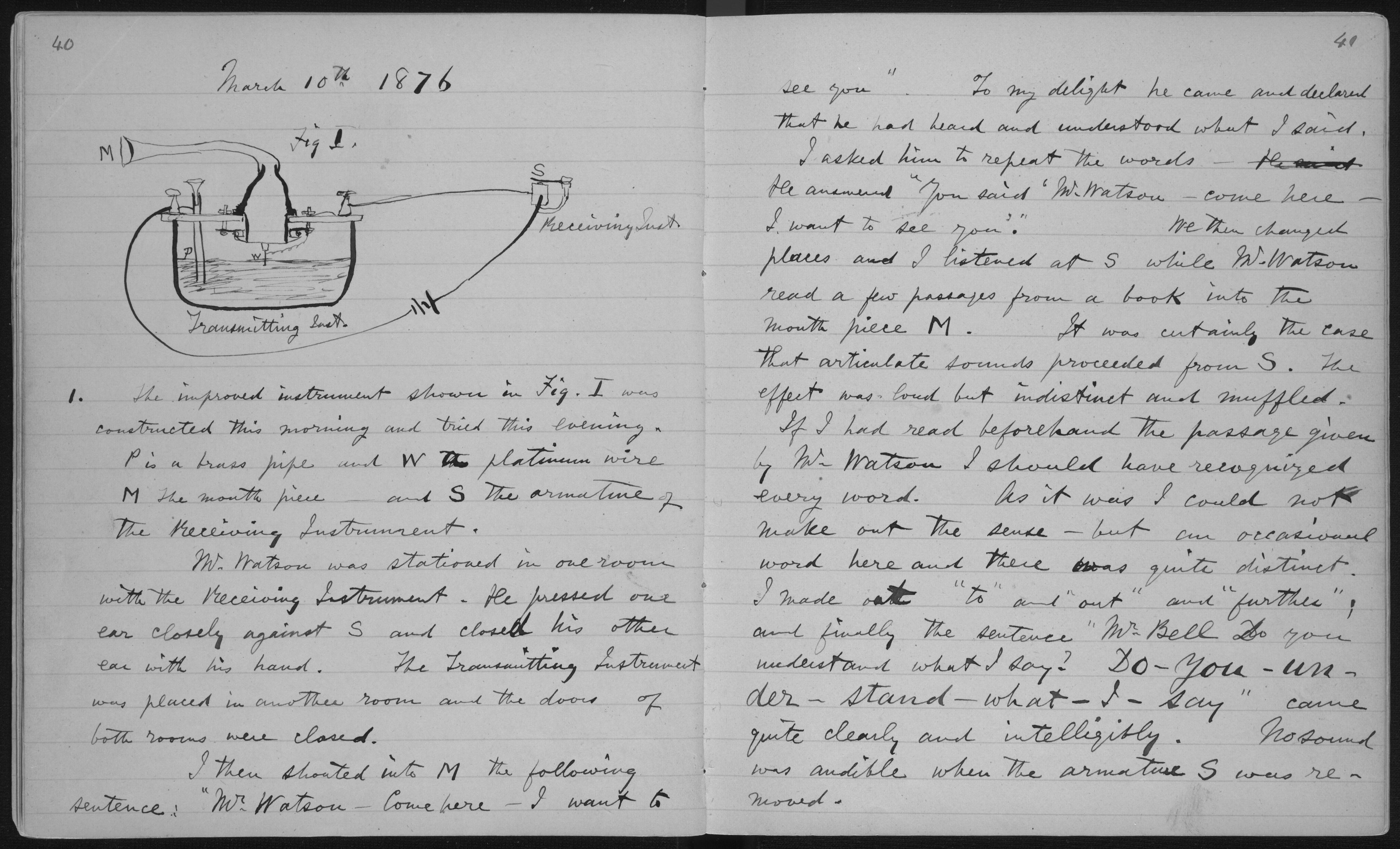 English: Pages 40-1 of Alexander Graham Bell's unpublished laboratory notebook (1875-76), describing first successful experiment with the telephone.