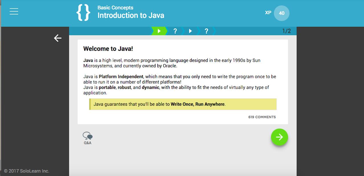 SoloLearn Javascript course