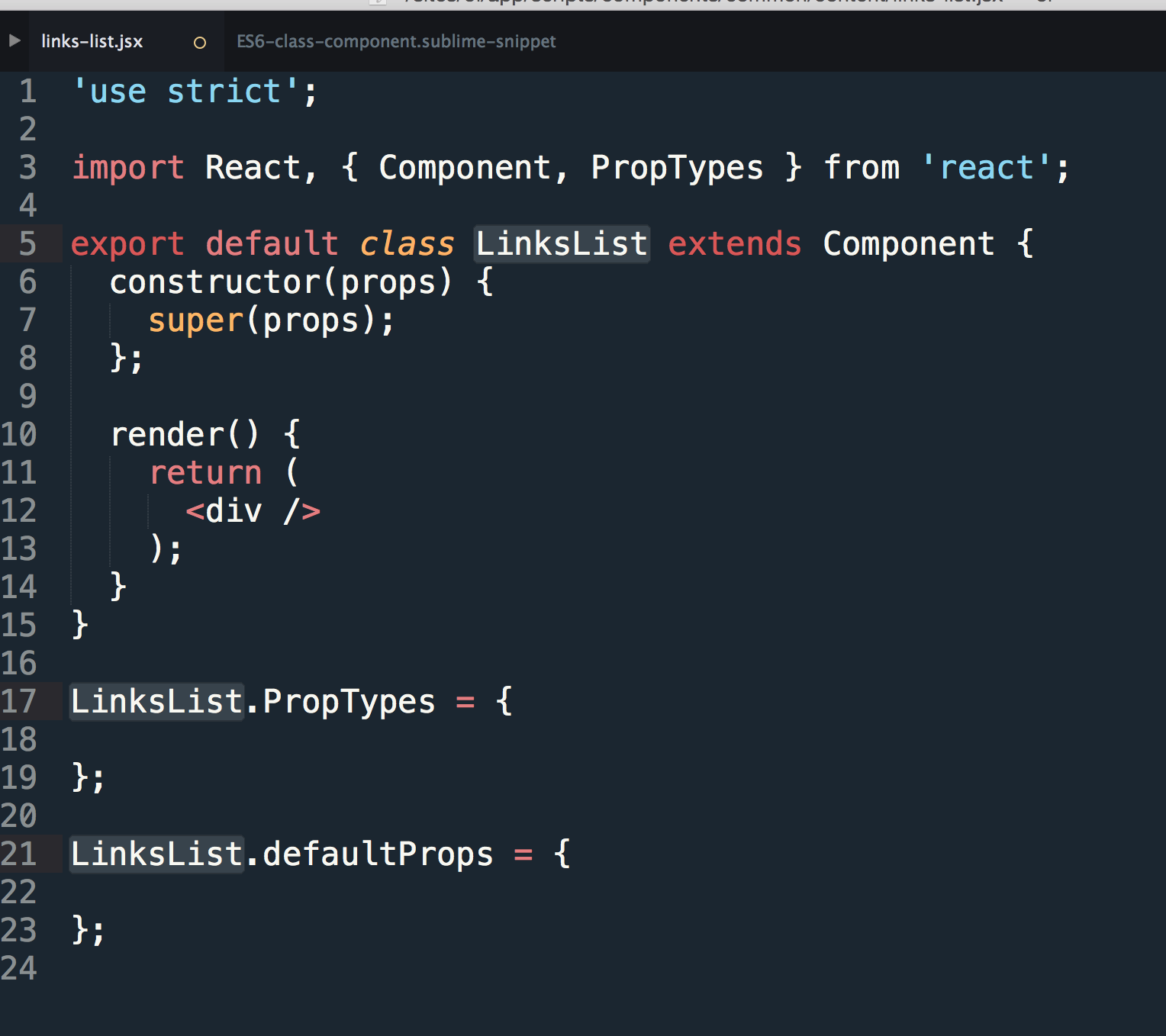 Sublime Text Snippet for a React component using ES6 class