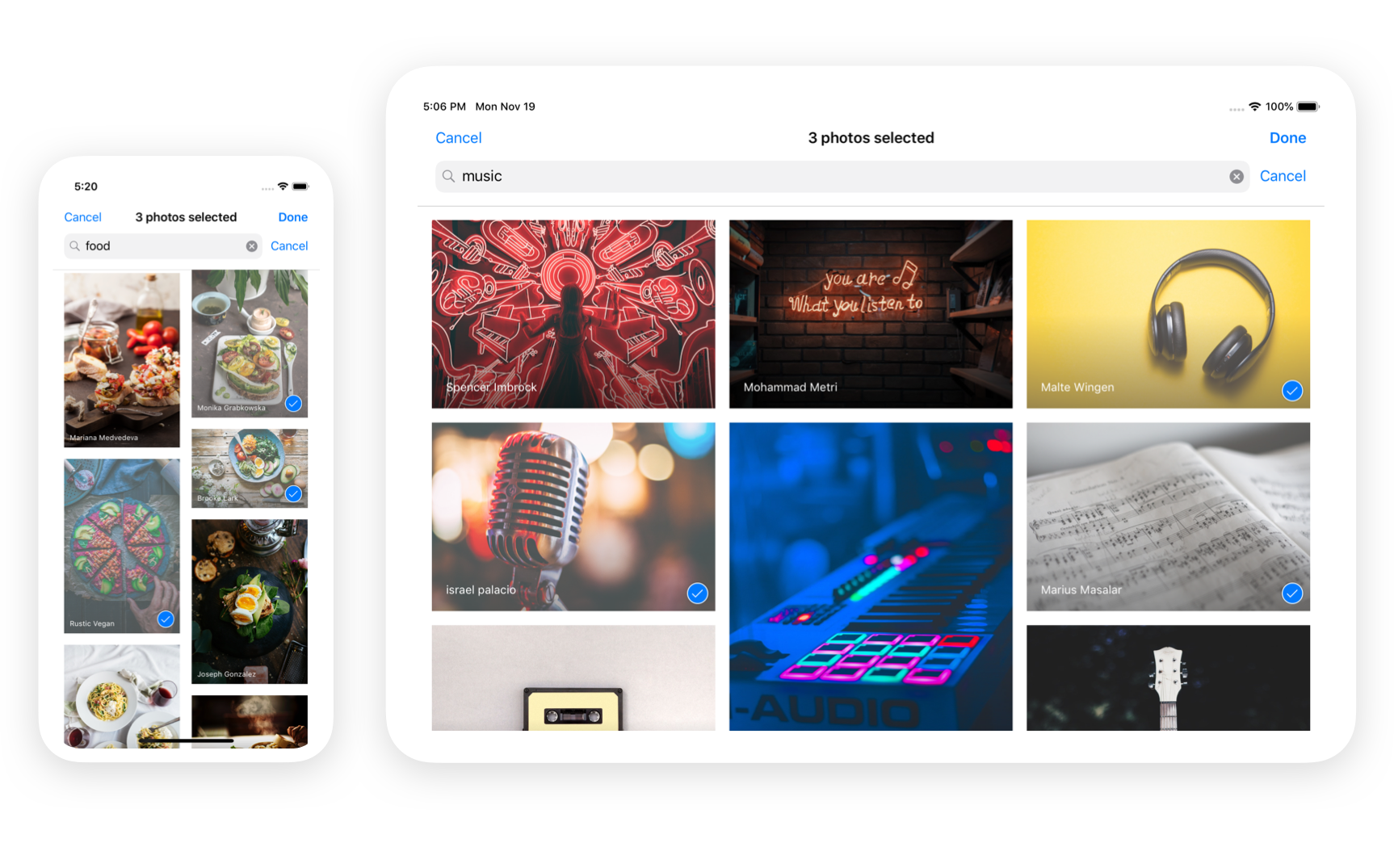Unsplash Photo Picker for iOS preview