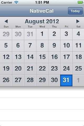 Github Klazuka Kal A Calendar Component For The Iphone The Ui Is