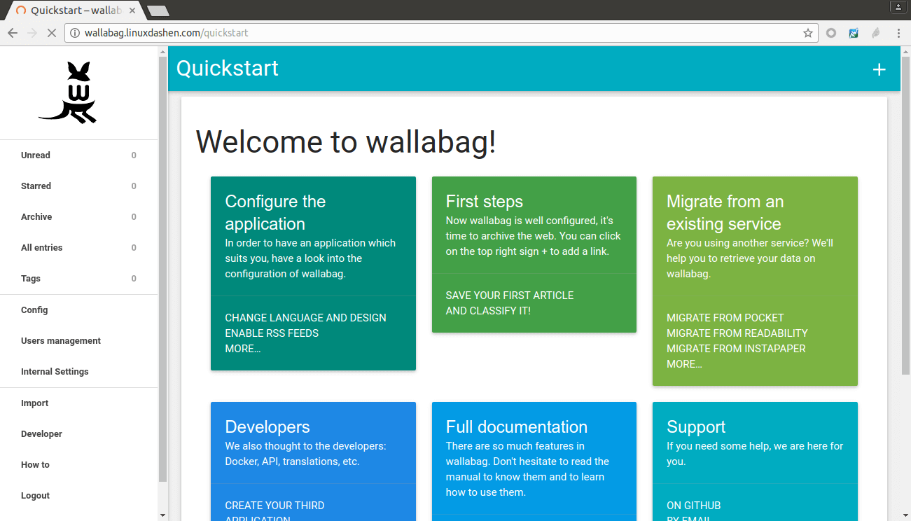 wallabag start screen