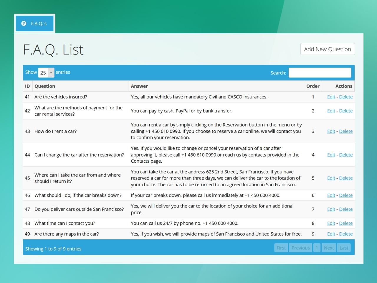 2. Expandable FAQ - Admin FAQ Manager