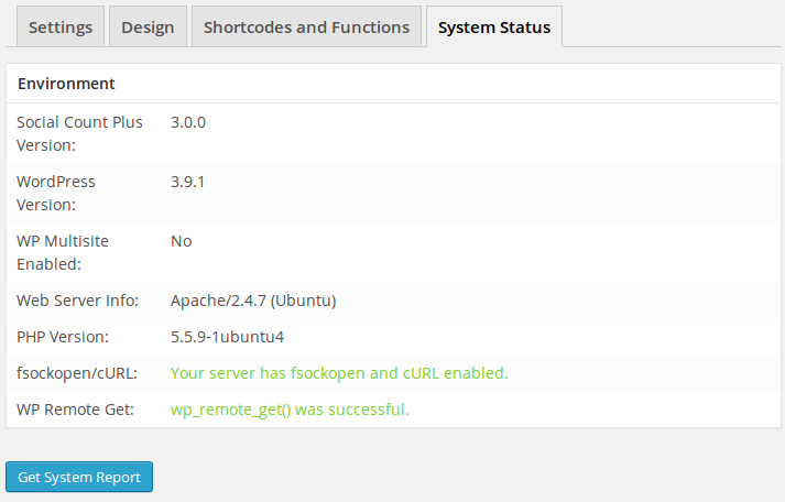 4. System Status page.