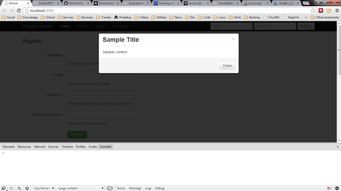 Twitter Bootstrap Modal Dialog, Reactive Component not Working