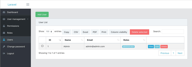 Roles Permissions screenshot