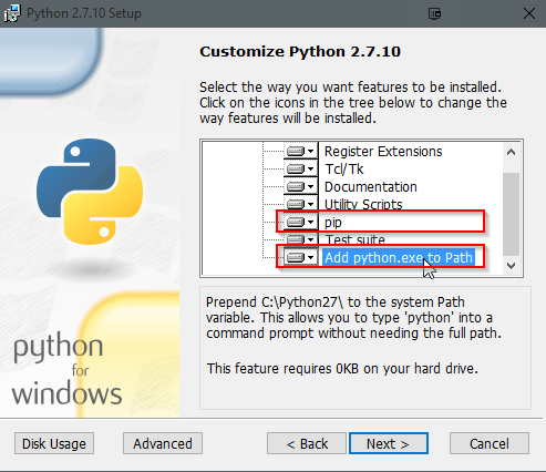 Python installation dialog