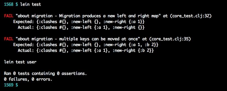A midje failure message in lein test output