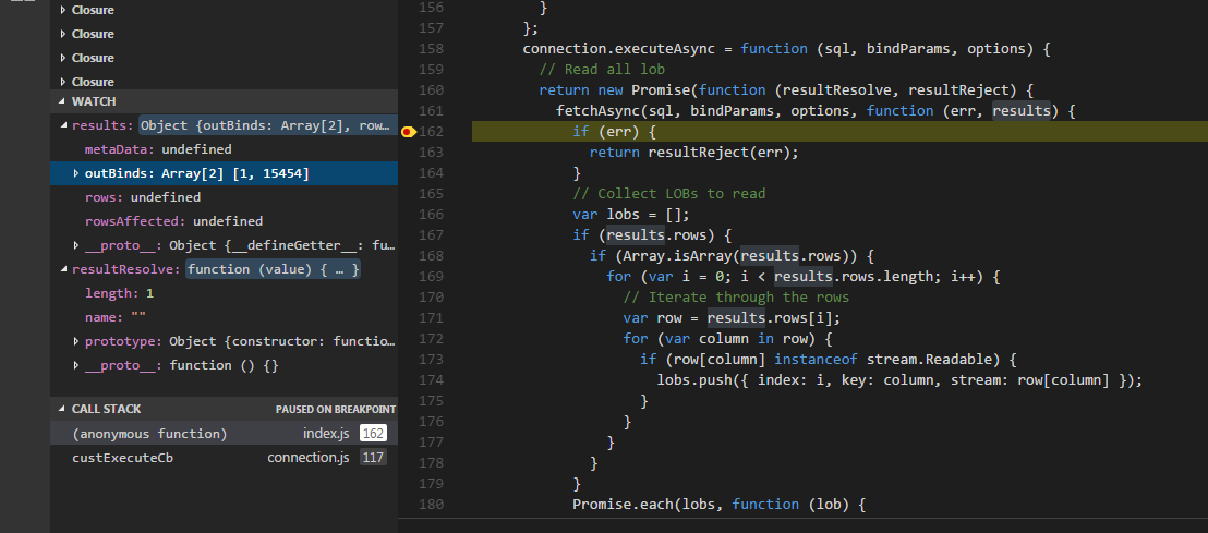 Heres A Screenshot Of Breakpoint In File Node Modules Knex Lib Dialects Oracledb Indexjs Line 162