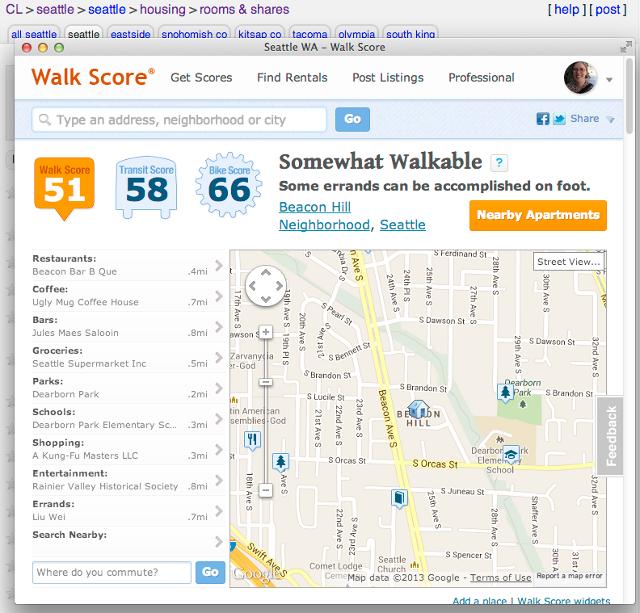 Right-Click Walk Score options screenshot