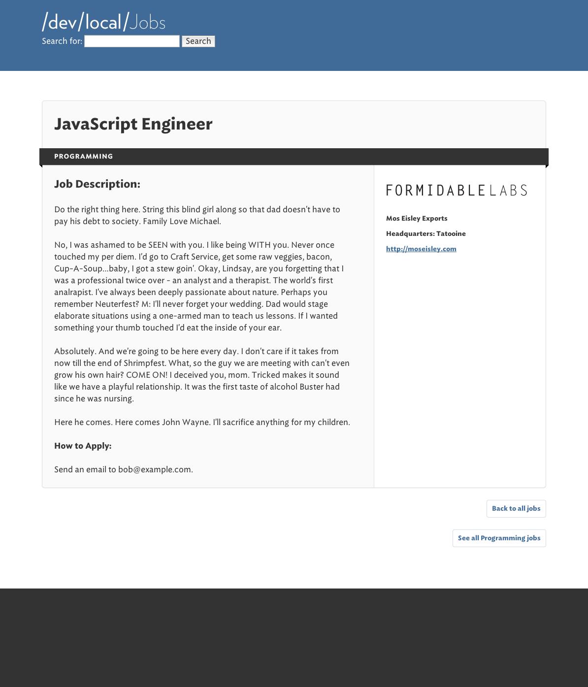 Base listing designs · Issue #17 · FormidableLabs/jobboard · GitHub