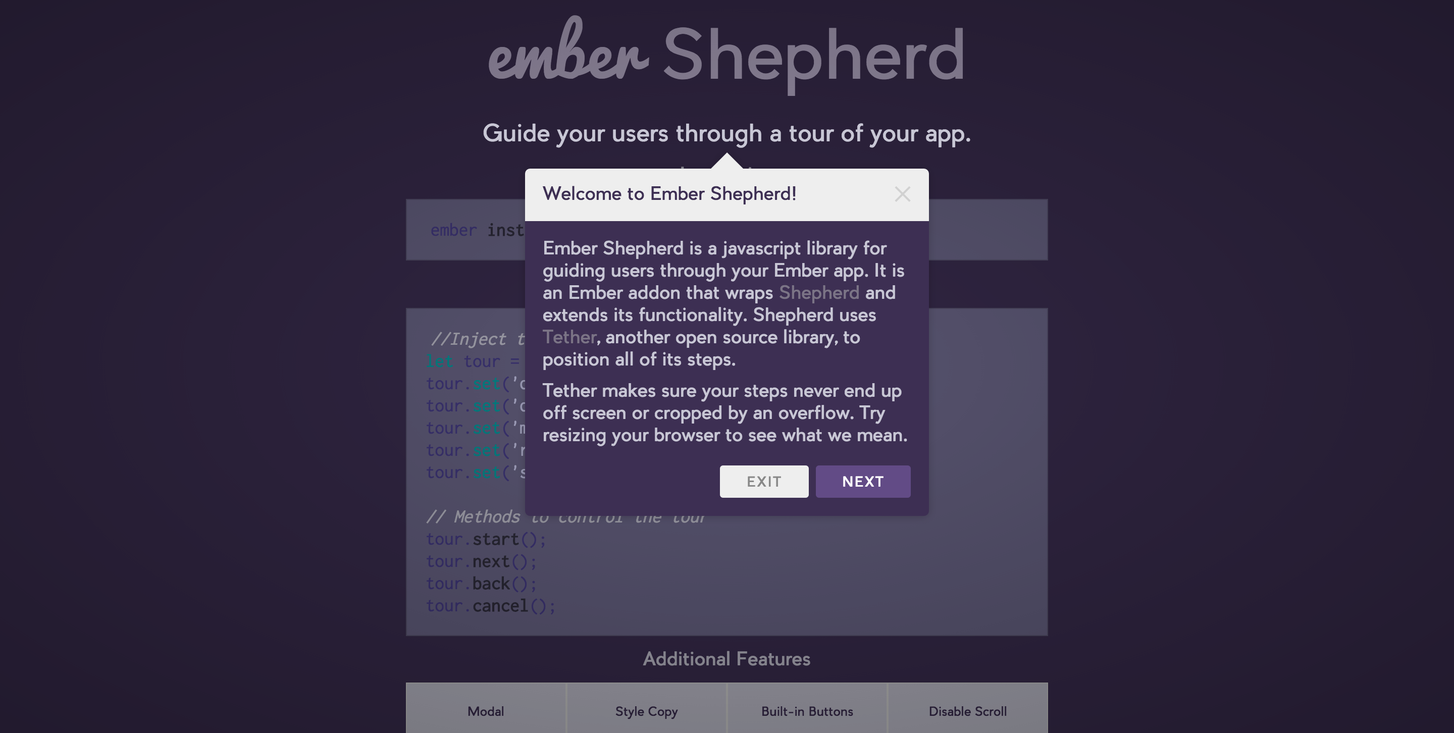 Guide your users through a tour of your app