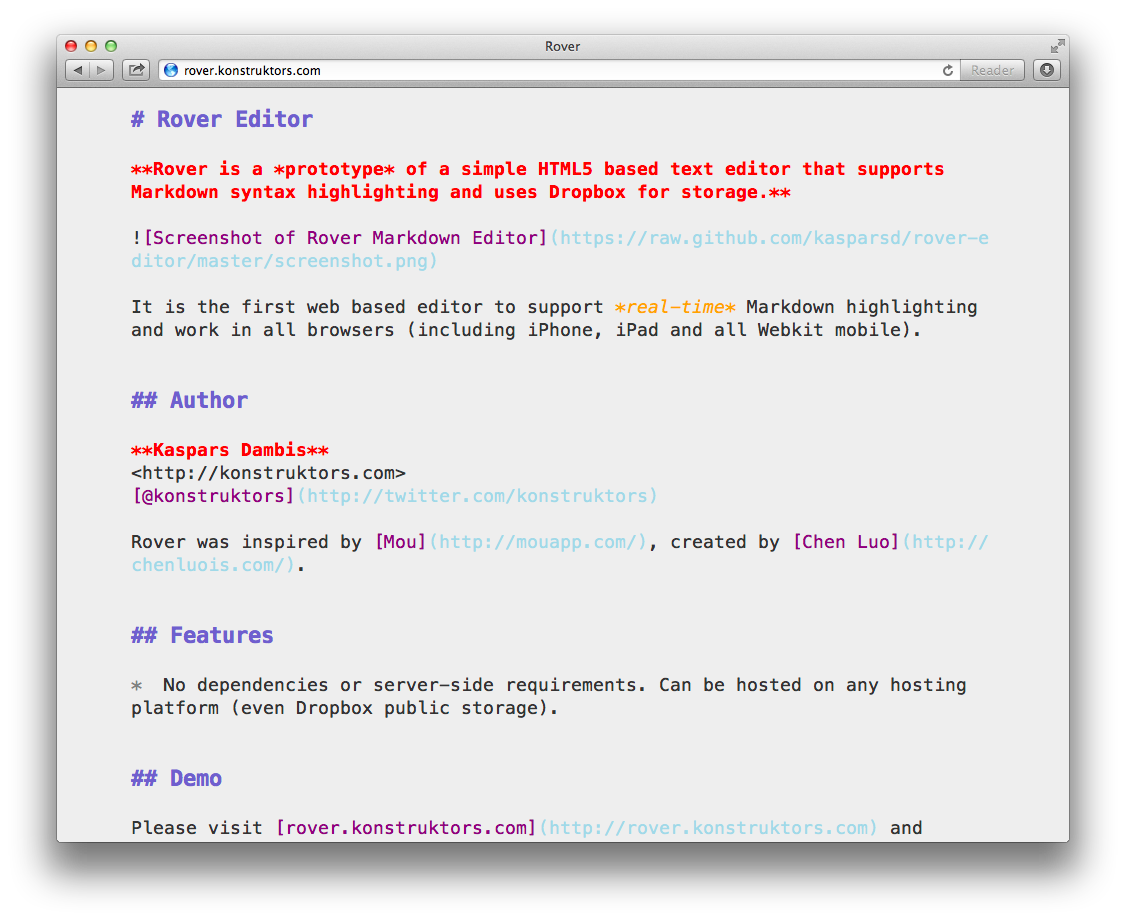 Screenshot of Rover Markdown Editor