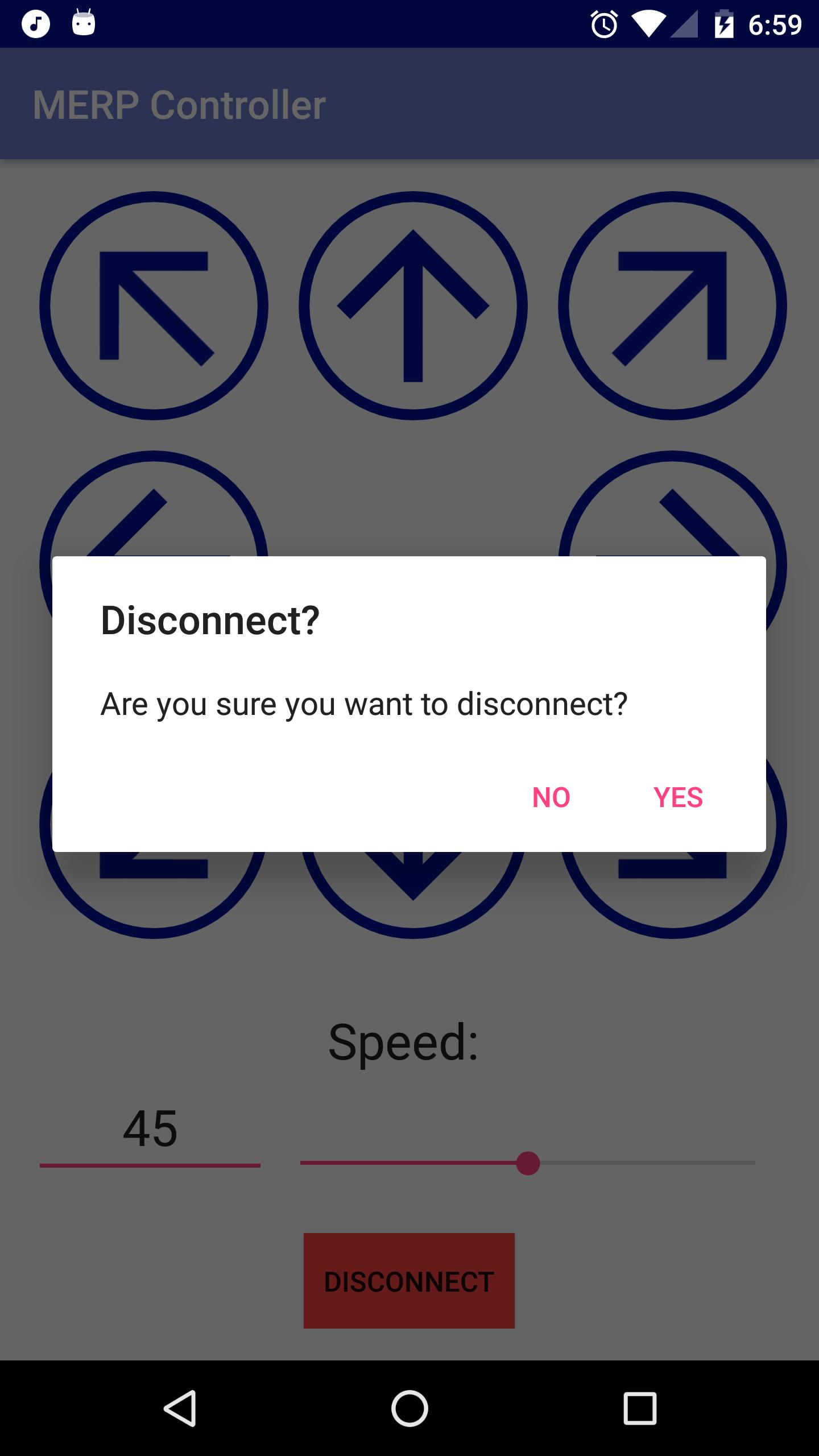 Disconnect Confirmation Alert