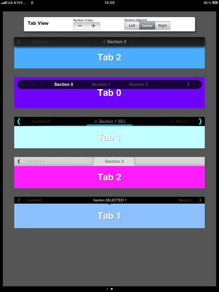 TSTabView examples
