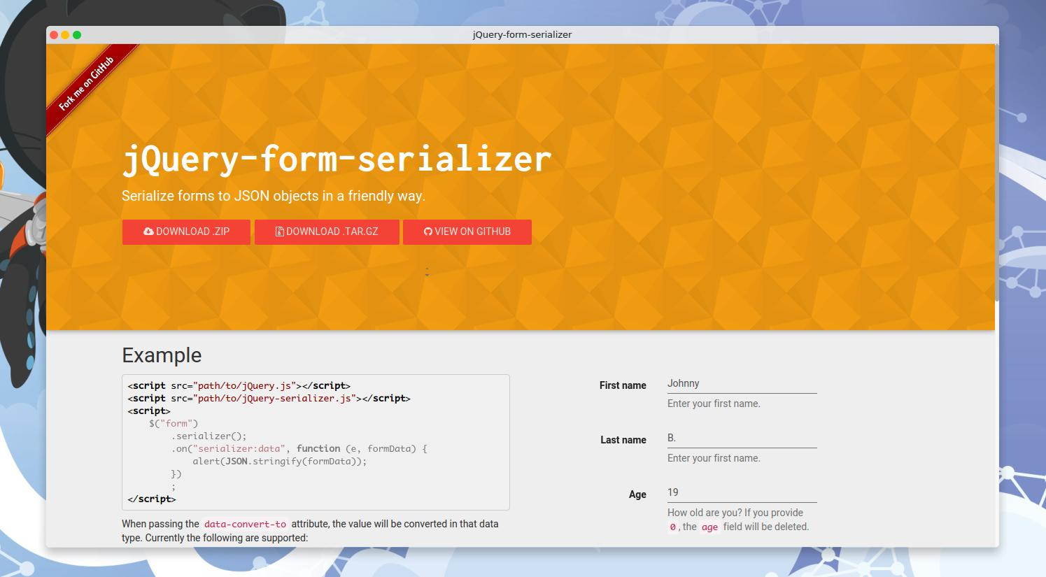 GitHub - jillix/jQuery-form-serializer: Serialize forms to
