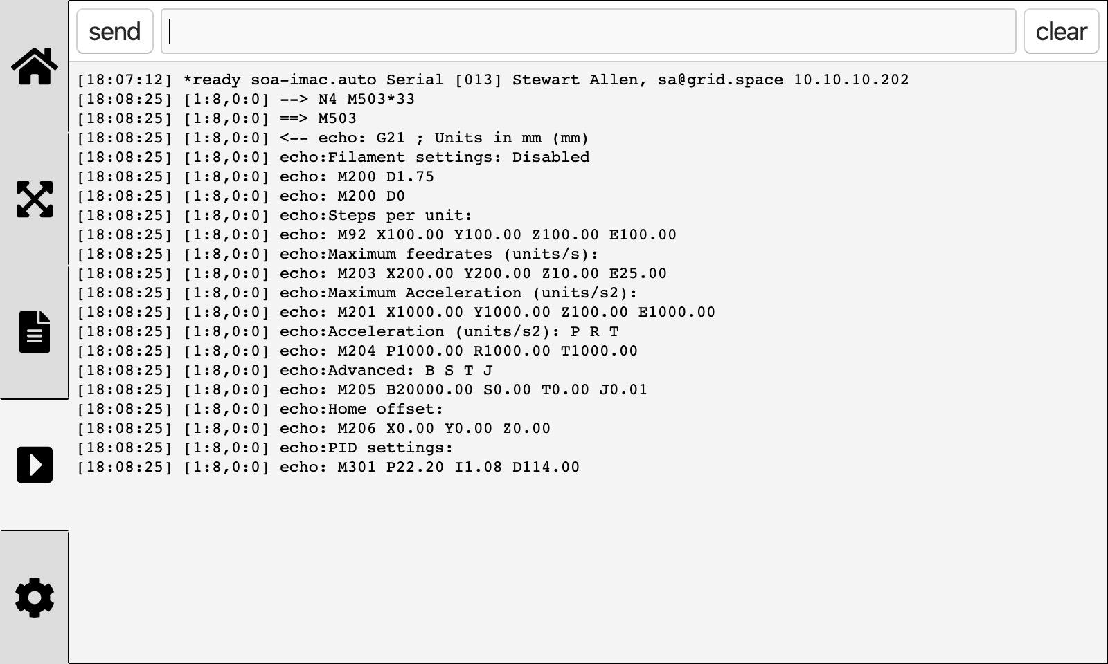 GridBot Comm Screen