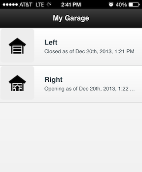 Screenshot from the controller app
