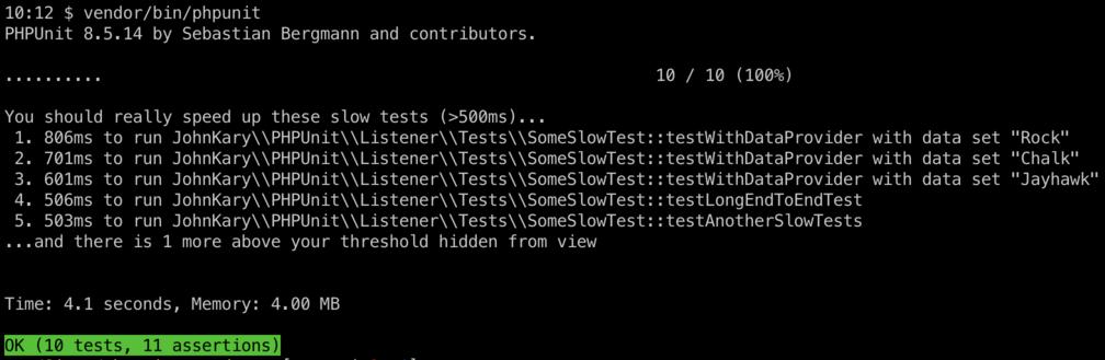 Screenshot of terminal using SpeedTrap