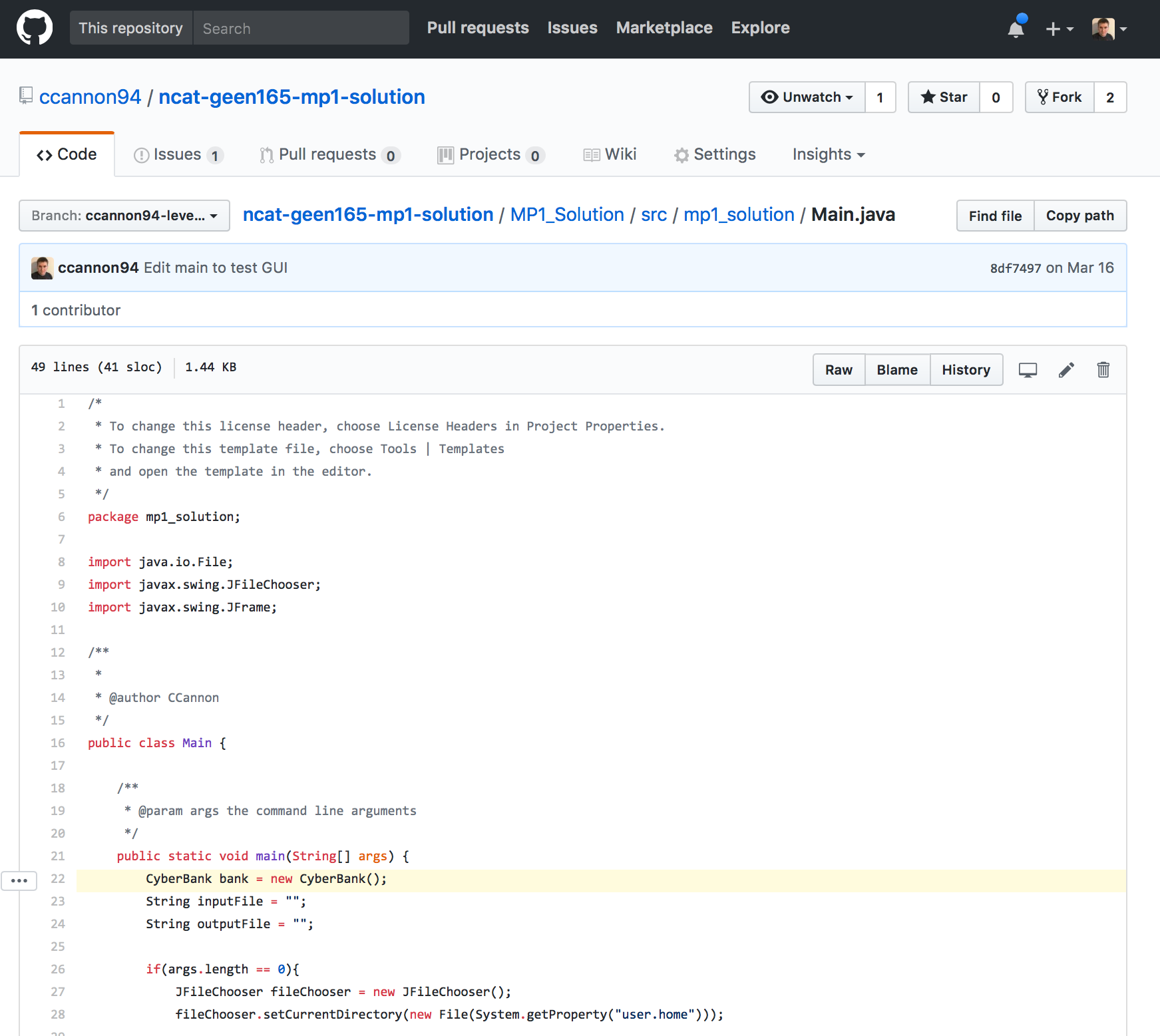 Highlighted source code line on GitHub