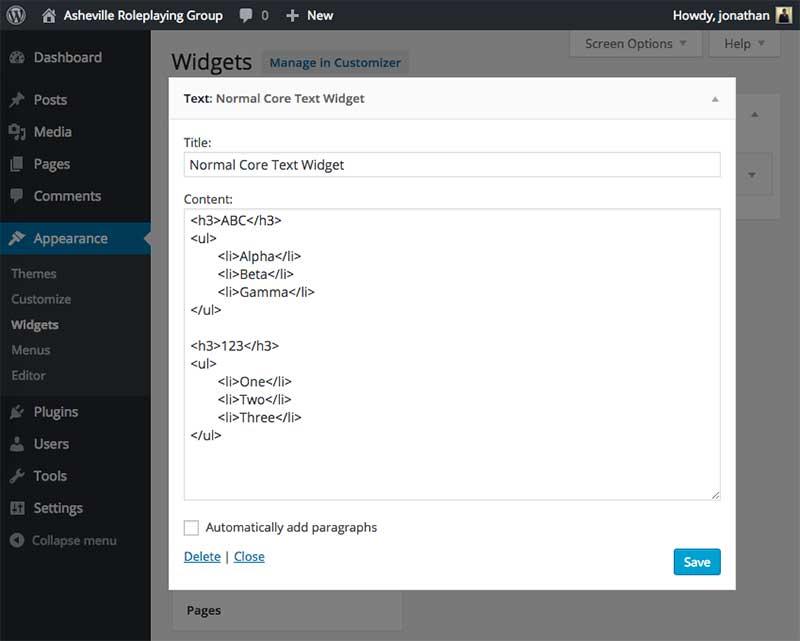 WordPress Widget Admin UI Overlay