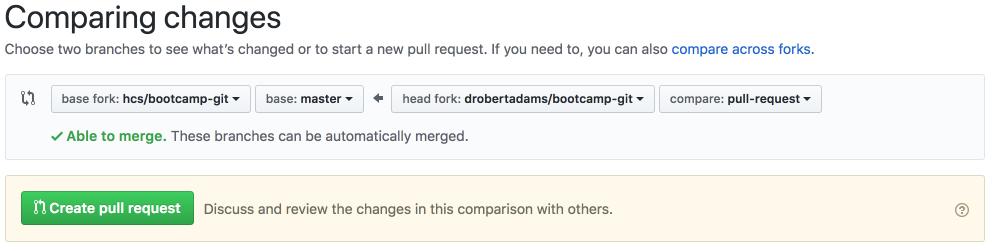 pull request options